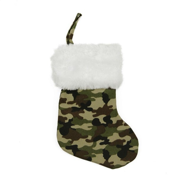 "8"" Army Camouflage Mini Christmas Stocking with White Faux Fur Cuff - green"
