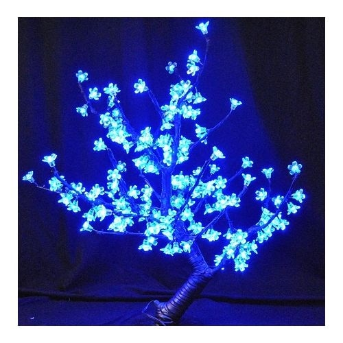 """Christmas at Winterland CH-168BL-60B 30"""" Tall Cherry Tree with Metal Base and Blue LED Blossoms"""