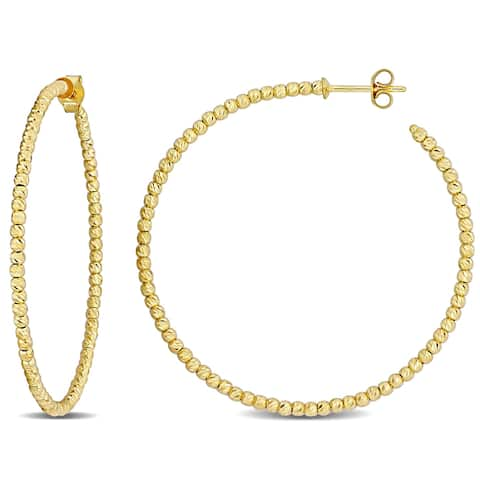 Miadora 18k Yellow Gold Diamond-cut Beaded Hoop Earrings