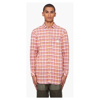 Diesel Sjoshi Shirt XX-Large Red and Orange Check Long Sleeves Linen Blend