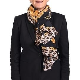 Roberto Cavalli Women's Silk Scarf Floral Gold Chain Leopard Skin Black Gold - Black/Gold - One Size