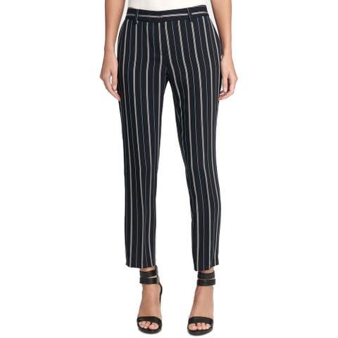 DKNY Women's Pants White Black Size 16X27 Dress Striped Front-Tab