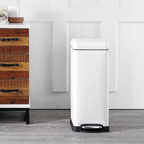 happimess Betty Retro 8-Gallon Step-Open Trash Can, White