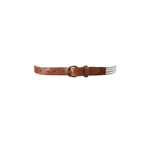 Fossil White Tan Printed Stripe Belt L