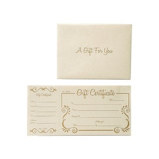 Gold Scroll Deluxe Gift Certificate 100 Certificates w/ Ivory Envelope