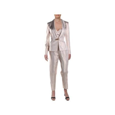 IEENA MACDUGGAL Womens Pink Metallic Blazer Party Pant Suit Size 6