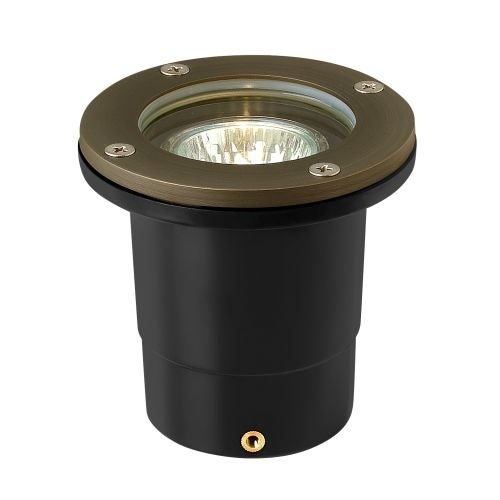 """Hinkley Lighting 16701 12v 20w Solid Brass 4"""" Diameter Landscape Flat Top Well Light from the Hardy Island Collection"""