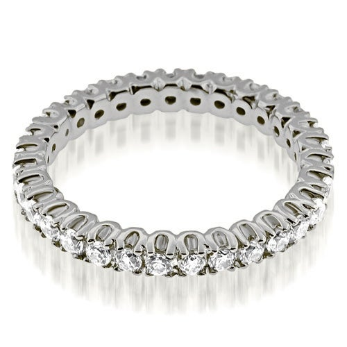 0.72 cttw. 14K White Gold Round Cut Diamond Eternity Band Ring