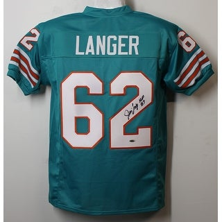 Jim Langer Autographed Miami Dolphins teal size XL jersey wHOF 87