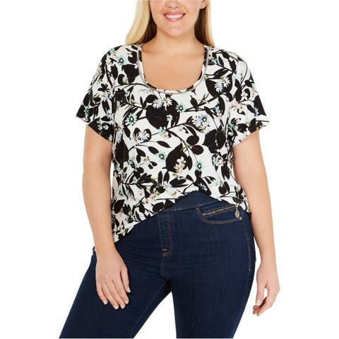 Tommy Hilfiger Womens Ladder Trim Graphic T-Shirt, White, 2X