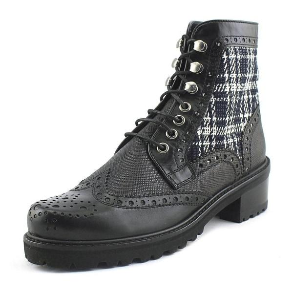 Stuart Weitzman Brogen Women Round Toe Leather Black Boot