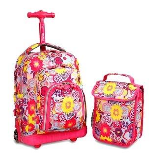 J World New York Lollipop Rolling Backpack - poppy pansy