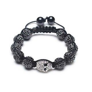 Bling Jewelry Black Shamballa Inspired Bracelet Crystal Skull Bead Alloy Simukated Hematite
