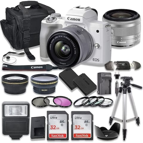 Canon EOS M50 Mirrorless Digital Camera with 15-45mm Lens White - Camera Bundle