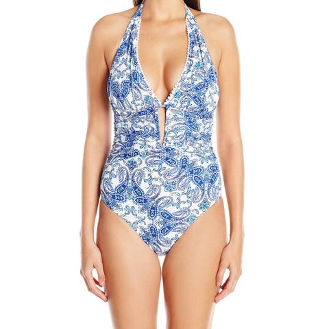 Bleu Rod Beattie Blue Women's Size 10 One-Piece Paisley Swimwear