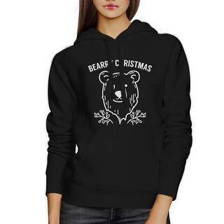 Bearry Christmas Bear Unisex Black Graphic Hoodie Fleece Pullover