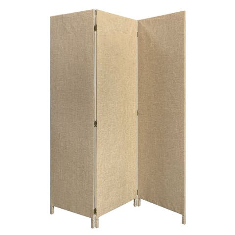 3 Panel Fabric Upholstered Wooden Screen with Straight Legs