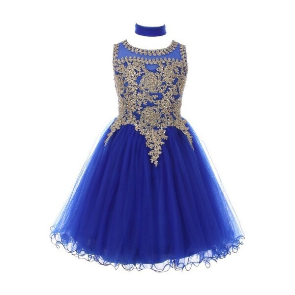 9768bb608df Shop Girls Royal Blue Gold Trim Wire Tulle Junior Bridesmaid Dress 8-16 - Free  Shipping Today - Overstock - 18161981