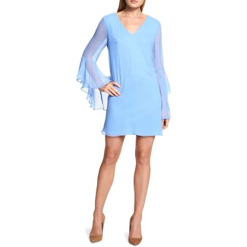 Kensie Womens Casual Dress Chiffon Strappy Blue 4