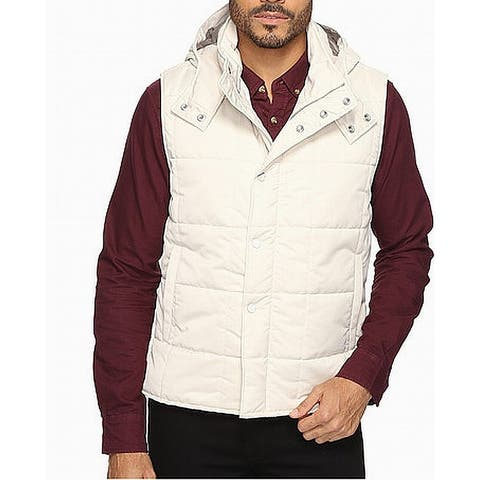 Exley Mens Jacket White Ivory Size Medium M Vest Quilted Hooded Full Zip