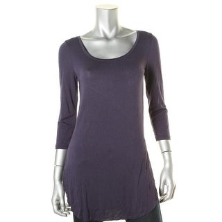 Ultraflirt Womens Juniors Scoop Neck 3/4 Sleeves Tunic Top