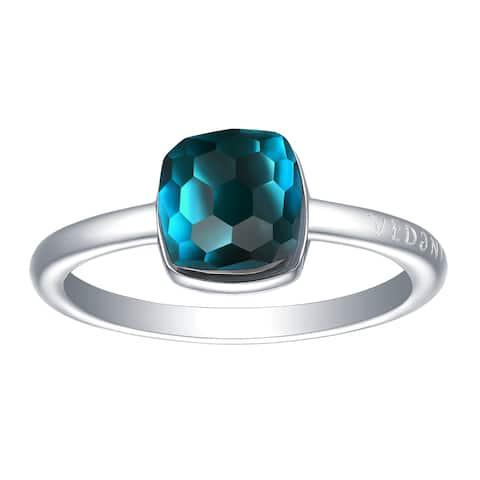 Vedantti Mini Honeycomb Cut Blue Topaz Gemstone Royal Solitaire Ring