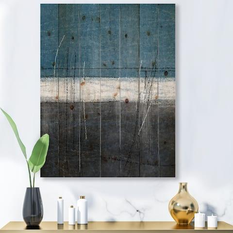 Designart 'Teal Meets Grey Abstract Art' Modern Print on Natural Pine Wood