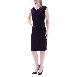 Womens Purple Cap Sleeve Knee Length Sheath Party Dress Size: 10