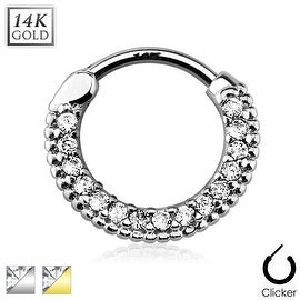 Round Paved Gems 14Kt Gold Septum Clicker (Sold Individually)