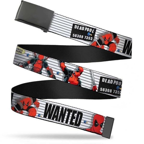 Marvel Universe Blank Black Bo Buckle Deadpool Wanted Actions Poses Web Belt