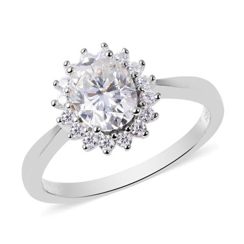 Shop LC 925 Sterling Silver Moissanite Cluster Ring Ct 1.5