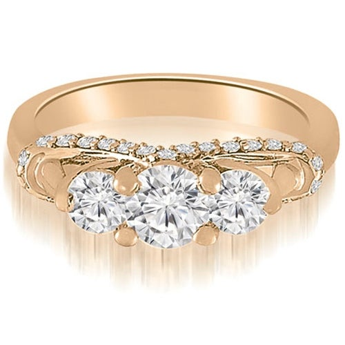 1.45 cttw. 14K Rose Gold Three-Stone Round Cut Diamond Engagement Ring