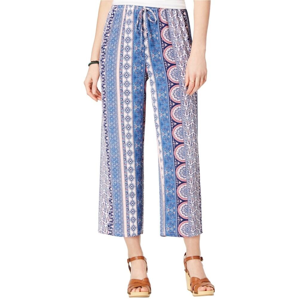 Ultra Flirt Womens Striped Casual Cropped Pants blue X-Small