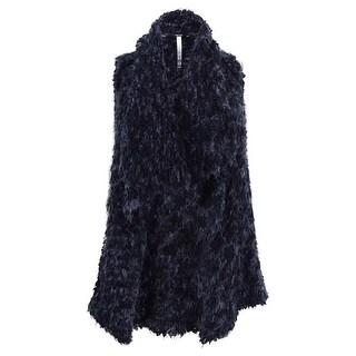 kensie Woman's Faux-Fur Draped Vest (XS, Charcoal)