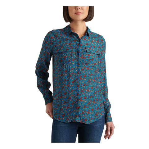 LUCKY BRAND Womens Blue Floral Cuffed Collared Button Up Top Size SP