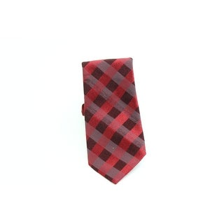 Calvin Klein NEW Red Traditional Woven Plaid Men's Neck Tie Accessory