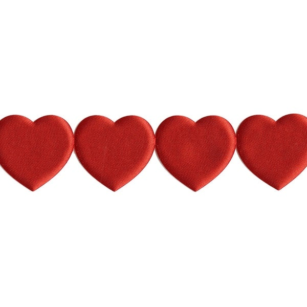"Jumbo Satin Cutouts 1-1/2""X10yd-Red Hearts"