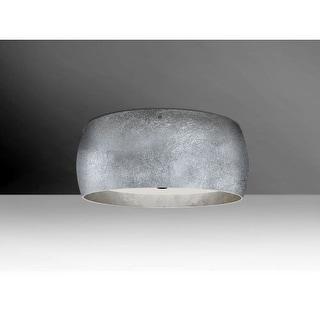 Besa Lighting 1KM-POGOSS Pogo 3 Light Flush Mount Ceiling Fixture with Silver Handcrafted Glass Shade