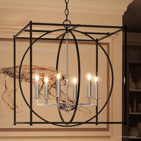 "Luxury Transitional Chandelier, 25""H x 22.5""W, with Multi-Shape Style, Natural Black Finish by Urban Ambiance"