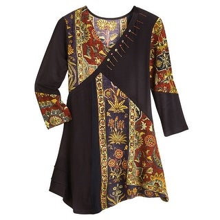 Women's Tunic Top - Floral Tapestry Patchwork Long Sleeve Blouse