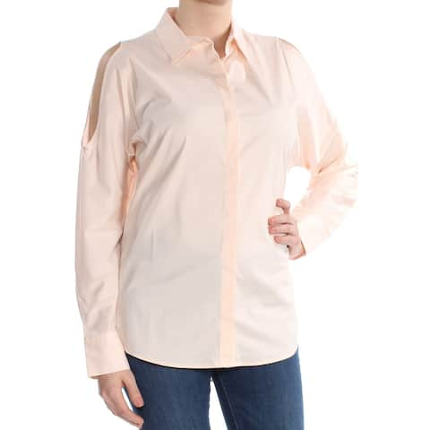DKNY Womens Pink Cold Shoulder Long Sleeve Blouse Top Size M