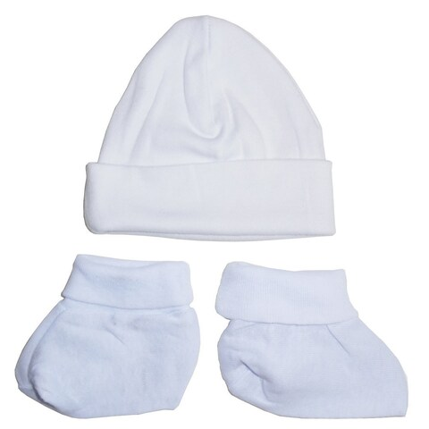 Bambini Baby Unisex White Solid Color Cotton Rib Knit Booties Cap Set