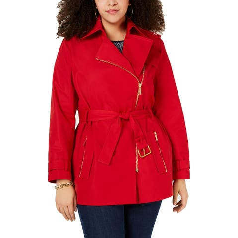 MICHAEL Michael Kors Womens Petites Trench Coat Fall Long
