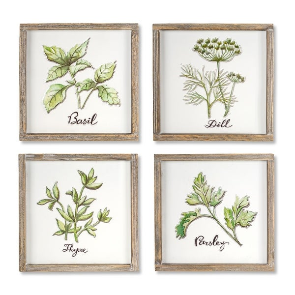 """Set of 4 Herb Plaque (brown, white) 12"""" - N/A"""