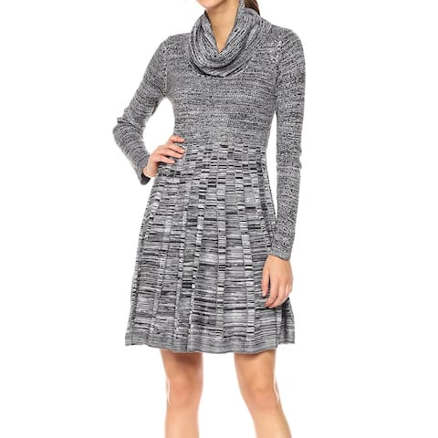 ce7d8c95409 Calvin Klein Gray Women s Large L Marled Cowl-Neck Sweater Dress