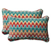 "Set of 2 Moroccan Red & Turquoise Outdoor Corded Rectangular Throw Pillows 18.5"" - Multi"