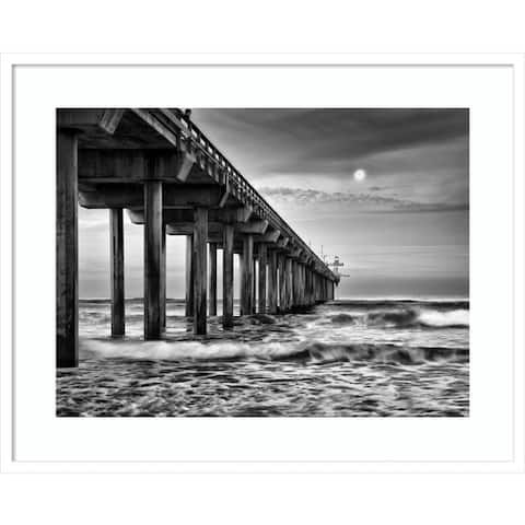 Full moon over Scripps Pier by Ann Collins DDFramed Wall Art
