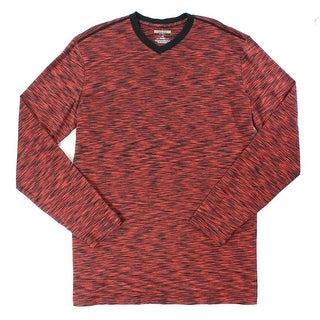Alfani NEW Port Red Mens Size 3XLT Space-Dye Pull-Over V Neck T-Shirt