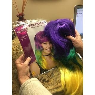 Tri-Color Mardi Gras Wig Adult Costume Accessory