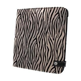 Black / Metallic White Zebra iPad Cover/Stand